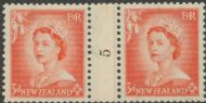 NZ Counter Coil Pair SG 727 1953 3d Queen Elizabeth II Join No. 5 (NCC/187)